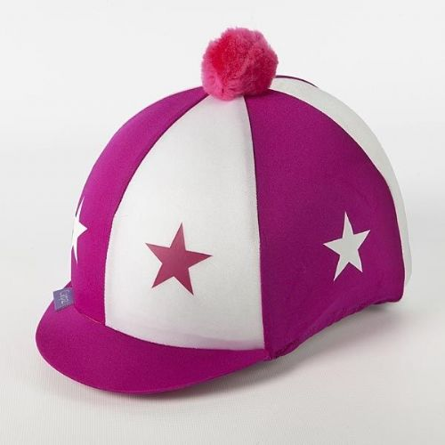 Capz Lycra Star Hat Cover with Pom Pom in Pink/White